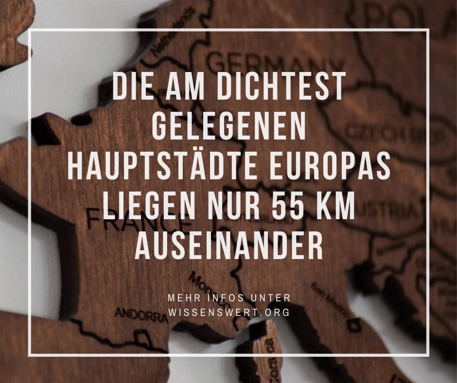 Die am dichtest gelegenen Hauptstädte Europas